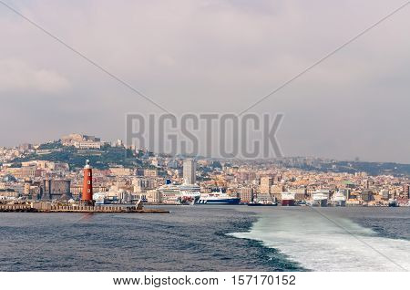 Naples Italy - October 7 2009: The cruise ships and ferries waits for passengers in the city port Naples.