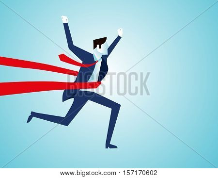 Success Of A Businessman In A Finishing Line. Concept Business Illustration. Vector Flat