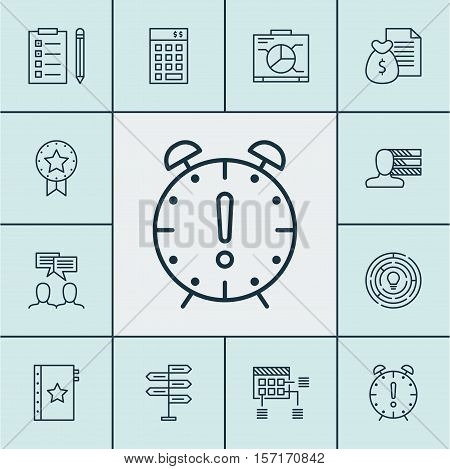 Set Of Project Management Icons On Investment, Reminder And Present Badge Topics. Editable Vector Il