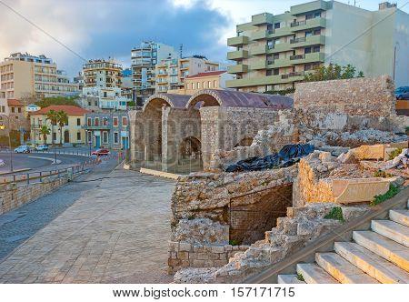 The Venetian era ruins of the stone warehouses in port of Heraklion Crete Greece.