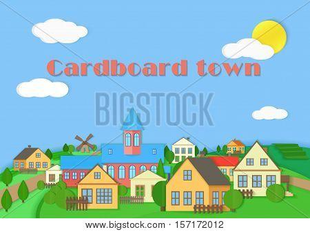 Old town cardboard village landscape. Paper color style village vector illustration