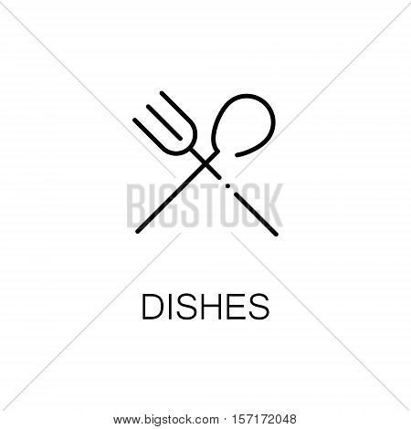 Dishes flat icon. Single high quality outline symbol of camping for web design or mobile app. Thin line signs of dishes for design logo, visit card, etc. Outline pictogram of camping dishes