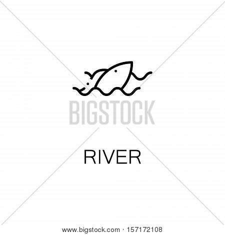 River flat icon. Single high quality outline symbol of camping for web design or mobile app. Thin line signs of river for design logo, visit card, etc. Outline pictogram of river and fish
