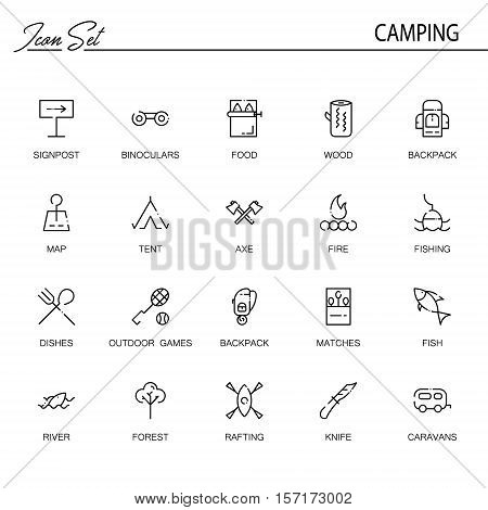 Camping flat icon set. Collection of high quality outline symbols of meat food for web design, mobile app. Vector thin line  icons or logo of signpost, backpack, map, fishing, tent, fare, etc.