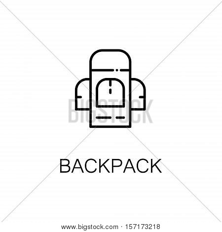 Backpack flat icon. Single high quality outline symbol of camping for web design or mobile app. Thin line signs of backpack for design logo, visit card, etc. Outline pictogram of camping backpack