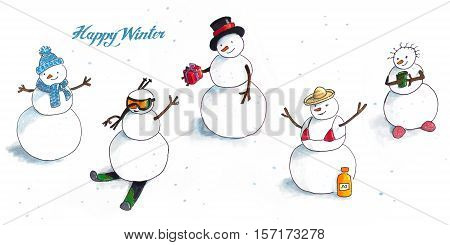 Winter background with hand Drawn funny snowmen