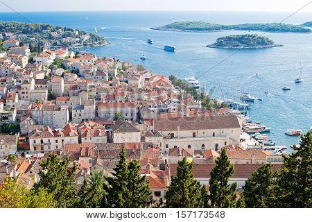 View of Hvar city in autumn Croatia