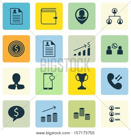 Set Of Management Icons On Manager, Tree Structure And Job Applicants Topics. Editable Vector Illust