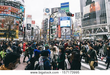 Tokyo Shibuya. February 8 2015. The shibuya district in Tokyo. Shibuya is popular district in Tokyo for his pedestrian cross where all pedestrians cross in the same moment from all direction