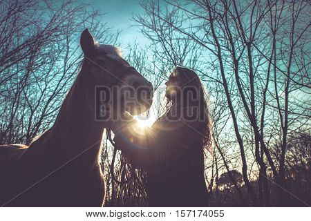 Woman caressing the horse in the forest