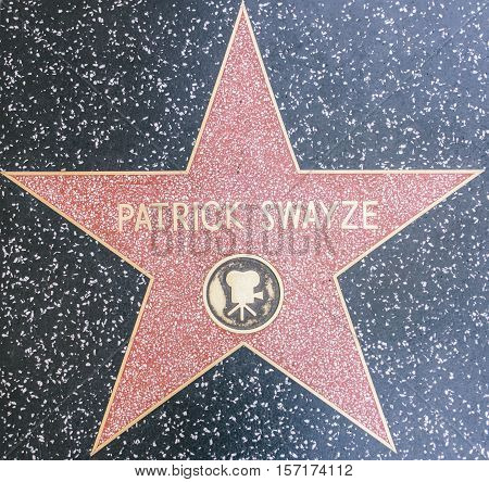 HOLLYWOODCA - OCTOBER 8 2015: Patrick swayze tribute on the Walk of Fame. This star is located on Hollywood Blvd. and is one of 2400 celebrity stars