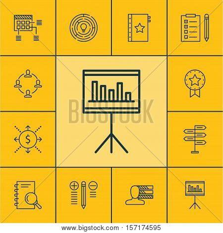 Set Of Project Management Icons On Schedule, Reminder And Innovation Topics. Editable Vector Illustr