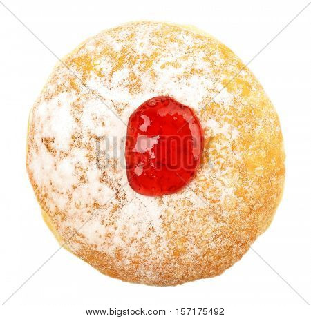 Tasty donut with jam on white background. Hanukkah celebration concept