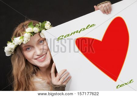 Sign empty heart woman smiling