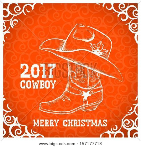 Cowboy Merry Christmas Greeting Card With Cowboy Objects