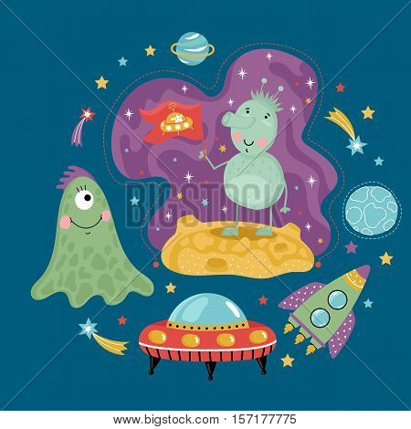 Space concept in cartoon style. Spaceship, flying saucer, cute aliens, colorful stars, planets, comets vector icons   isolated on blue background set. Astronomic funny illustration for childrens book