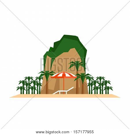 Beach vacation concept. Chaise longue beach umbrella and tropical island landscape. Flat style vector illustration.