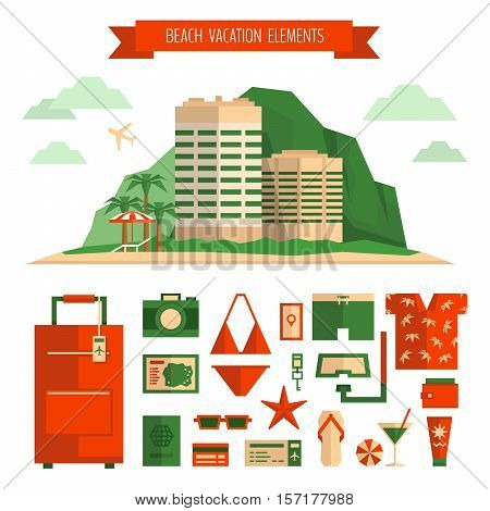 Beach Vacation Concept And Object Set. Things For Summer Travel. Traveling, Tourism, Vacation Illust