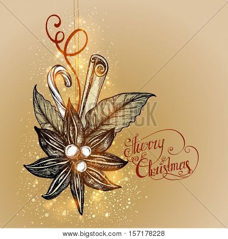 Christmas background. Christmas Toy made from natural materials. Star anise, bay leaf, cinnamon. Vector illustration.
