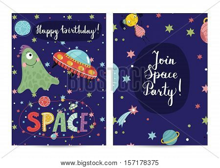 Happy birthday cartoon greeting card on space theme. Cute aliens and flying saucer in cosmos among stars and planets on blue background vector illustration. Invitation on childrens costumed party