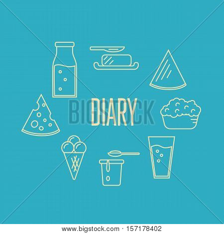 Dairy banner with milk products composition isolated on blue, vector illustration. Healthy nutritious concept with butter, ice cream, milk, yoghurt, cheese, kefir. Organic farming. Natural food