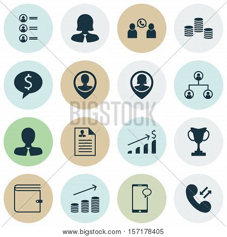 Set Of Management Icons On Business Deal, Tree Structure And Coins Growth Topics. Editable Vector Il