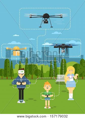 Drone aircraft website template with people operating flying robots in park vector illustration. Boy in virtual reality headset. Remotely controlled multicopter. Unmanned aerial vehicle. Flying device