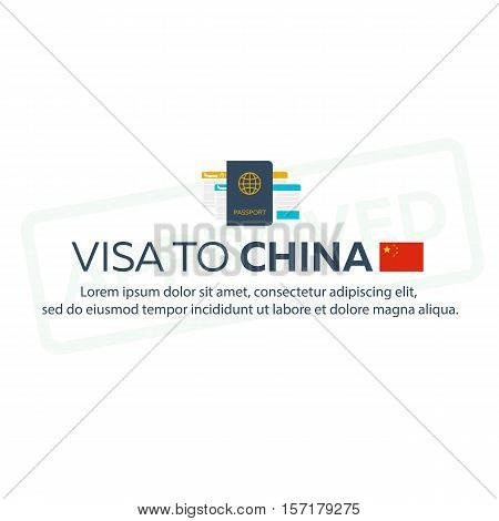 Visa To China. Travel To China. Document For Travel. Vector Flat Illustration.