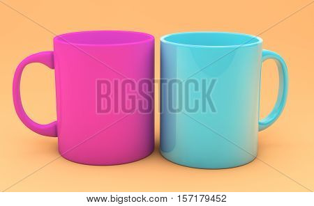 colored cups on a colored background 3d render
