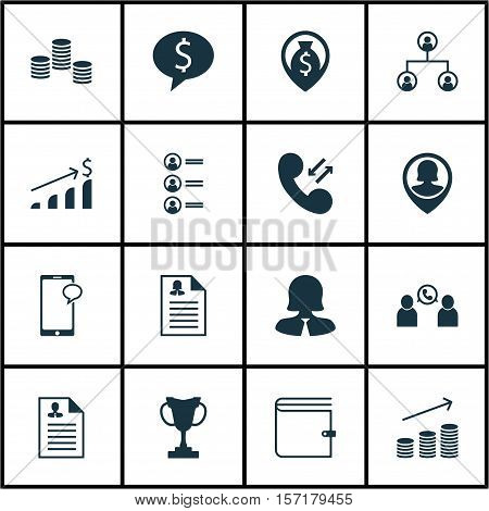 Set Of Management Icons On Tournament, Successful Investment And Female Application Topics. Editable