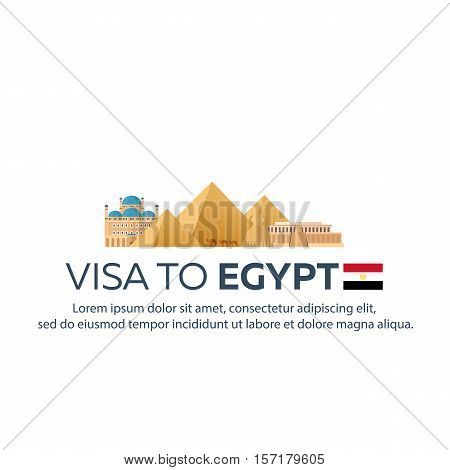 Visa To Egypt. Travel To Egypt. Document For Travel. Vector Flat Illustration.