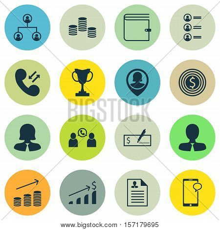 Set Of Management Icons On Pin Employee, Wallet And Messaging Topics. Editable Vector Illustration.
