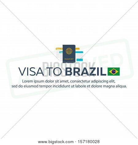 Visa To Brazil. Travel To Brazil. Document For Travel. Vector Flat Illustration.