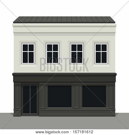 Facade building. Front of house. Vector detailed illustration. Isolated on white background.
