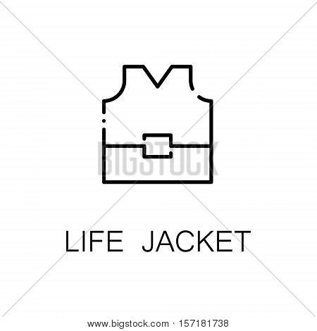 Life jacket flat icon. Single high quality outline symbol of camping for web design or mobile app. Thin line signs of life jacketfor design logo, visit card, etc. Outline pictogram of life jacket