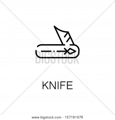 Knife flat icon. Single high quality outline symbol of camping for web design or mobile app. Thin line signs of camping knife for design logo, visit card, etc. Outline pictogram of knife