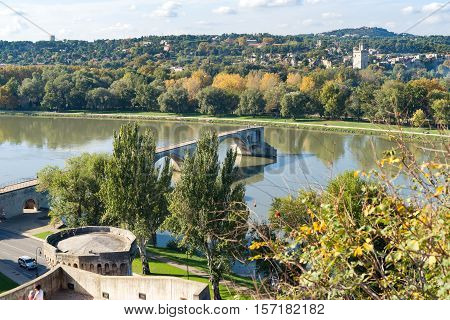 View of the River Rhone and the Avignon Bridge (Pont Saint-Benezet) Avignon Provence France.