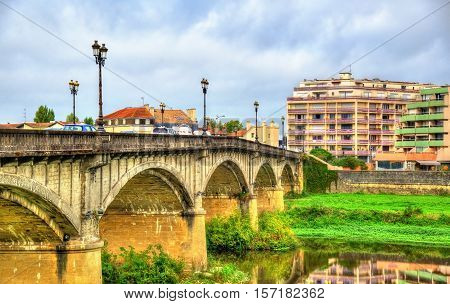 Pont Vieux, a bridge above the Adour River in Dax - France, Landes