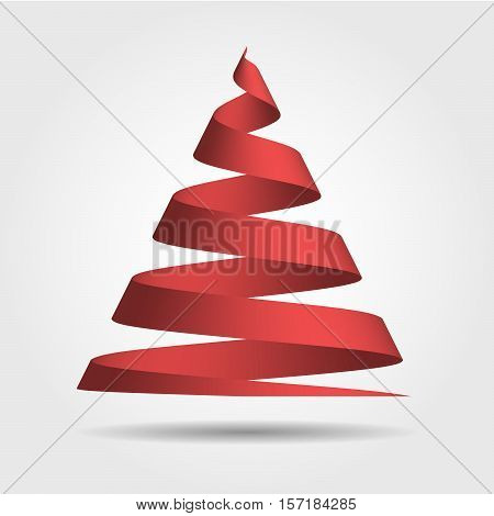 Simple red ribbon in a shape of Christmas tree. Merry Christmas theme. 3D vector illustration with dropped shadow and gradient background.