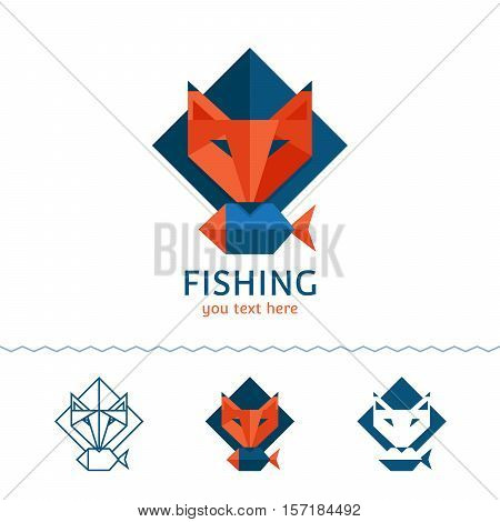 Fishing logotype. Fox holding a fish. Flat style vector illustration.