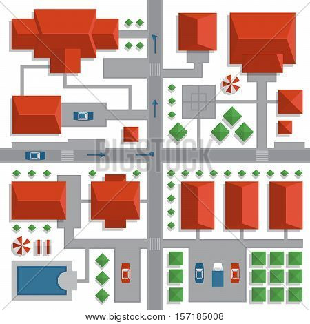 Top view map of the city with streets and houses. View from above. Vector illustration.