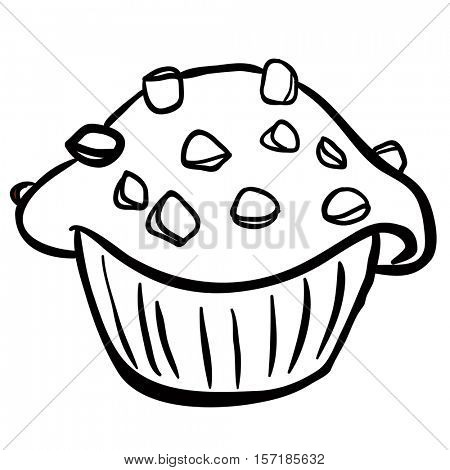 black and white chocolate chip muffin cartoon