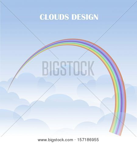 Blue clouds and rainbow background, stock vector illustration