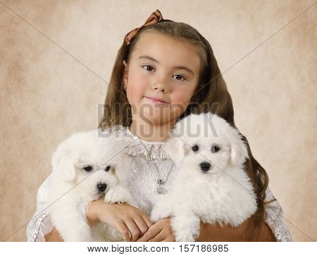 Portrait of a little girl with Bichon Frise puppies on a beige background