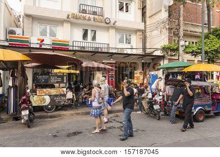 BANGKOK THAILAND - OCT 18 : scene of tourist in Khao San road on october 18 2016. Khao San road is tourist hub of Bangkok.