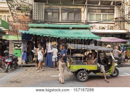 BANGKOK THAILAND - OCT 18 : tuktuk service in Khao San road on october 18 2016. Khao San road is tourist hub of Bangkok.