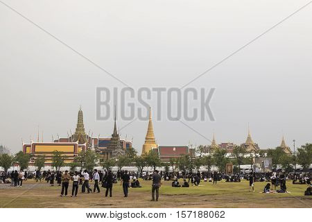 BANGKOK THAILAND - OCT 18 : A crowd of mourners at Sanam Luang while the body of Thailand Bhumibol Adulyadej keep in Grand Palace on october 18 2016