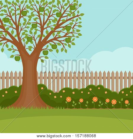 Gardening. Banner with summer garden landscape. Apple tree flower bushes wood fence and lawn. Flat style vector illustration.