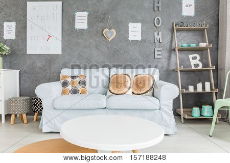 Comfortable Sofa And Round Table