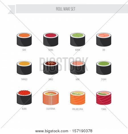 Sushi Roll Vector Set. Flat Style Icon.